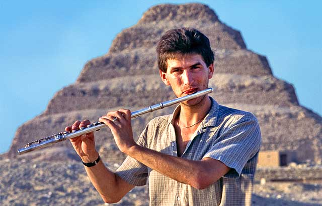recording at the Sakkara step pyramids - Egypt