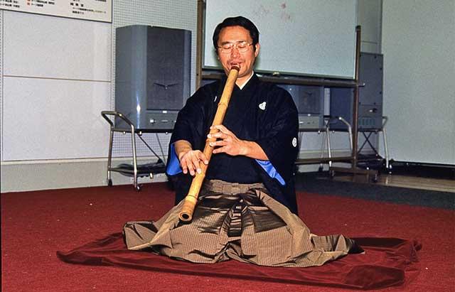 with shakuhachi player Tajima Tadashi, Osaka - Japan