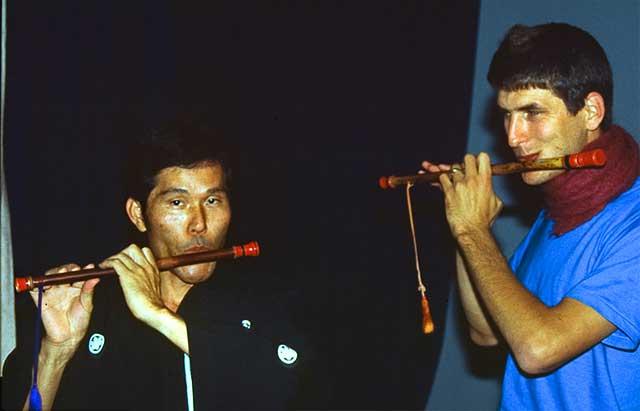 duo with Yaeyama flutist, Okinawa - Japan