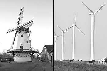 Old and new windmills in Holland